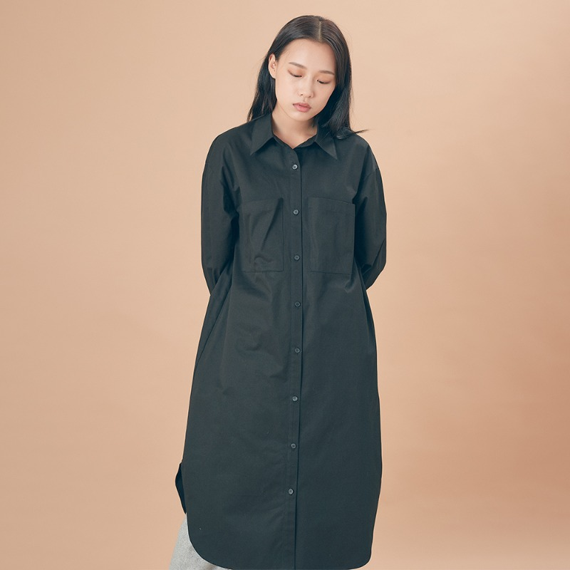 2019 F/W [EX.9F0O008-0] Pocket Shirts One-piece - Black