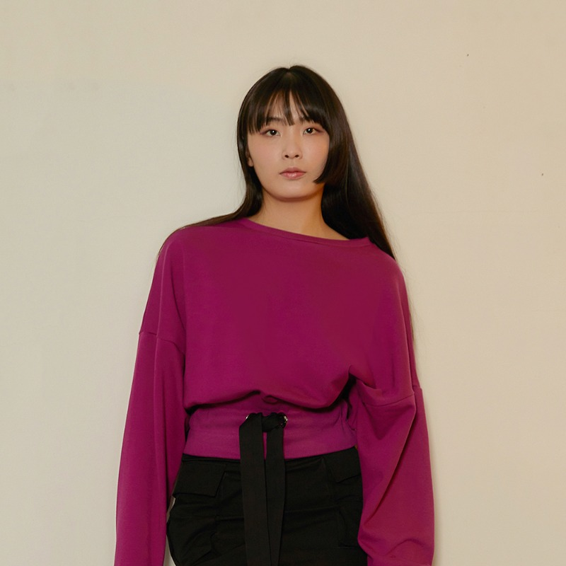 2020 S/S [EX.0S0T004-0] String Crop T-Shirts - Reddish Purple